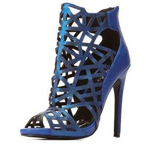 Blue Shiny Snakeskin Heels